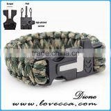 Outdoor can OEM logo with fire starter and flint paracord bracelet survival