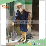 2016 New Best quality animal sculpture fake artificial old fisherman and birds statue for sale