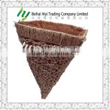 Woven water grass and coco cone hanging flower basket