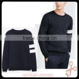 mens basic approved factory 80%cotton 20%poly fleece sweatshirt wholesale custom crew neck sweatshirt with band detail