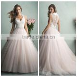 light pink ball gown cap sleeve decent wedding dress