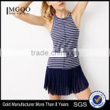 MGOO Fashion Stripe Printing Dri Fit Tennis Dress Women Round Neck Sleeveless Sport Suit