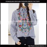 Korean ladies new design cotton long sleeve shirt embroidered womens blouses shirts