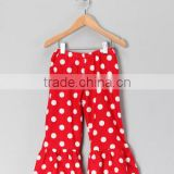 Newest Kids Ruffle Pants Red & White Polka Dots Kids Pants Toddlers Clothing Trouser Sleepwear Payjama Ruffle Children Trouser