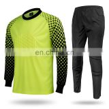 OEM rib long sleeve custom foam printing yellow dry fit lycra prolite fabric soccer jersey set