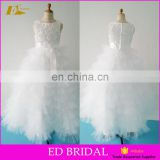 Beautiful Appliques Tulle Fancy Customized Real Sample Vintage Flower Girl Dress