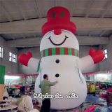 6m Height Wearing Red Hat Inflatable Snowman for Outdoor Christmas Decoration