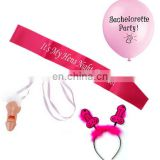 it's my hen night bicthes satin bachelorette sash set for hen party supply