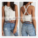 MIKA72040 Wholesale Women White 100 Polyester Lace Eyele Crop Top Women