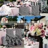 black and white stripe wrinkle free frill chair cover banquet