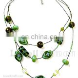 Three strand designer Glass bead necklace
