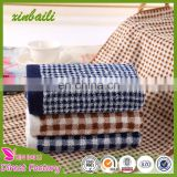 Gaoyang direct factory bamboo fiber towels deep color plaid face towels for home gift 34*74cm 100g