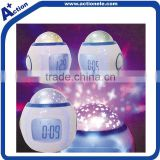 egg shaped alarm projector clock with LED light