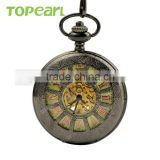 Topearl Jewelry Skeleton Hollow Pocket Watch Black Case Mechanical Pocket Watch in Bulk LPW571