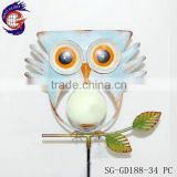 metal craft iron light blue owl stake for yard decoration