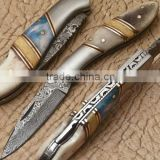 "udk f98"" custom handmade Damascus folding knife / pocket knife with colored Camel bone, steel bolster and spacers Handle"
