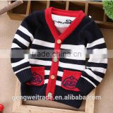 British Style Cardigan Simple Stripes Design Childrens Sweaters