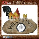 resin decorative rooster and chicken on stone with welcome and solar lamp garden decoration gift