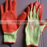 10 gauge yellow cotton yarn orange latex coated knitting glove with wrinkle in safety gloves