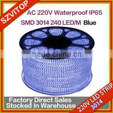 SV SMD 3014 240LED/M BLUE AC 220V Waterproof IP67 LED Strip for Outdoor Garden Swimming Pool Fish Tank Lighting New