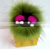Little Monster Bag Charm Keychain Real Fur Pom Poms Bag Keyrings Luxury Car Jewelry embellishment Pendant of Fox furs