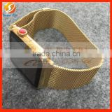 wirstband gold plated bezel frame wrist band watch strap and small buttons perfect testing