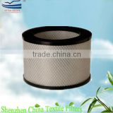 Pleated compressed air HEPA filter cylinder cartridge