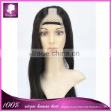 100% handmade by skilled worker silky straight natural color full lace virgin human hair u part wig