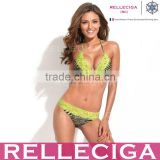 RELLECIGA Lace Bikini Series - Zebra Print + Neon Yellow Lace Sexy Triangle Top with Brazilian Cut Scrunch Bottom