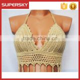 K-72 Women Sexy Halter Crochet Cami Bra Hollow Bikini Tank Tops Beach Wear Crop Lace Vest