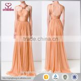 Latest designs wedding dress bridal gown sexy backless Blush orange halterneck ladies gown                                                                                                         Supplier's Choice