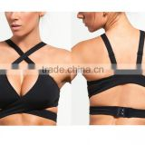 Hot sale criss-cross straps yoga wear wholesale supportive young ladies sexy black sports bra