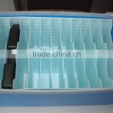 Antistatic polypropylene foam transport container with partition