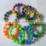 BPA free & Food grade silicon lined beads,beaded silicone wristband,silicone micro link bead rings