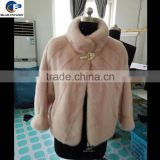 women fashion natural mink fur short coat in pink