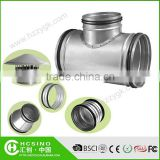 Ducting Fitting Galvanized Steel T Tee, 3-Way Connector