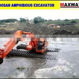 35 Ton LONG REACH BOOM Float Excavator with Side Pontoon , Additional Pontoon . CE , EPA , SGS, ISO , Model: MAX220SD-LA