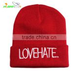 High Quality Pom Pom Cheap Custom embroidery Winter Hat/Knitted Beanie/Knitted Hat