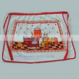 cotton /polyester velour towel fabric silk screen printing cute short waist apron cloth in roll or lace apron