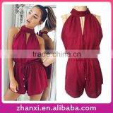 Drawstring short halter top sleeveless custom rompers set jumpsuits for women 2015