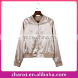 Wholesale fashion girls baseball jersey plain satin sport bomber jacket model for women