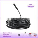 4LED dia 10mm length 15m waterproof video usb borescope endoscope inspection snake camera