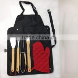 Cheap 6pcs BBQ Grill tool set rubber wooden handle with apron bag W-B0956