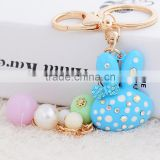 Rabbit Diamond Crystal Rhinestone Alloy Metal Keychain Animal Lover Cool Keyring Pendant Purse Handbag Bag Hanging