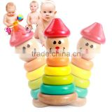 Factory direct sale wooden tumbler Rainbow Tower Rainbow Donuts wooden toys educational early children toys