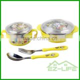 shockproof stainless steel baby feeding bowls soup bowl spoon and fork baby tableware set