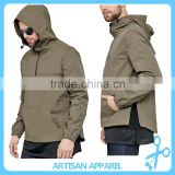 High quality leisure nylon pullover jacket with mesh lining and side zippers wind coat with hood