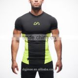 The summer leisure sportswear fitness training splice color custom short sleeve crewneck sports t shirt for men