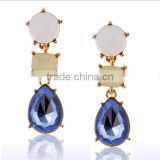 Long blue semi-precious stone pendant women stud earrings korean style crystal rhinestone long hanging earrings for sales 2016