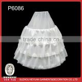 P6086 Hot Sale Puffy Taffeta Lining White Wedding Petticoat with 4 Hoops